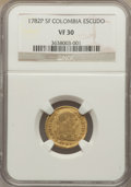 Colombia, Colombia: Charles III gold Escudo 1782 P-SF VF30 NGC,...