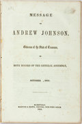 Books:Americana & American History, Johnson, Andrew: MESSAGE OF...GOVERNOR OF THE STATE OF TENNESSEE,TO BOTH HOUSES OF THE GENERAL ASSEMBLY, OCTOBER , 1855. Na...