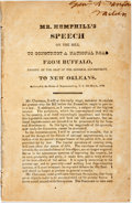 Books:Americana & American History, Hemphill, Joseph: MR. HEMPHILL'S SPEECH ON THE BILL TO CONSTRUCT ANATIONAL ROAD FROM BUFFALO, PASSING BY THE SEAT OF THE GE...
