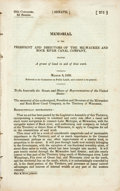 Books:Americana & American History, Wisconsin: MEMORIAL OF THE PRESIDENT AND DIRECTORS OF THE MILWAUKEEAND ROCK RIVER CANAL COMPANY, PRAYING A GRANT OF LAND IN...