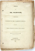 Books:Americana & American History, Webster, Daniel: SPEECH OF...IN THE SENATE, IN REPLY TO MR.CALHOUN'S SPEECH ON THE BILL 'FURTHER TO PROVIDE FOR THE COLLEC...