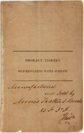 Books:Americana & American History, Thomas T. Tasker's Self-Regulating Water Furnace. [N.p.,n.d., Philadelphia, 1855]. First edition. 3 pp + folding plate,...