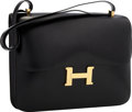 Luxury Accessories:Bags, Hermes 34cm Black Calf Box Leather Single Gusset Constance Bag withGold Hardware . Very Good to Excellent Condition . ...
