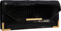 """Luxury Accessories:Bags, Hermes Shiny Black Crocodile Recto Clutch Bag with Gold Hardware .Good to Very Good Condition . 11"""" Width x 5.5""""Heig..."""