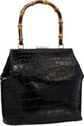 "Luxury Accessories:Bags, Gucci Black Crocodile Top Handle Bag with Bamboo Hardware . VeryGood Condition . 10"" Width x 9"" Height x 3"" Depth ..."