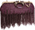 "Luxury Accessories:Bags, Gucci by Tom Ford Limited Edition Purple Sequin Fringe DragonClutch Bag. Excellent Condition. 13"" Width x 7"" Height x 3""..."