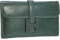 "Luxury Accessories:Bags, Hermes Vert Fonce Lizard Jige PM H Clutch Bag . Very Good to Excellent Condition. 8"" Width x 5"" Height x .5"" Depth ..."