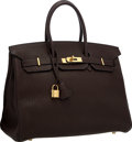 """Luxury Accessories:Bags, Hermes 35cm Cacao Togo Leather Birkin Bag with Gold Hardware .Excellent Condition . 14"""" Width x 10"""" Height x 7""""Depth..."""