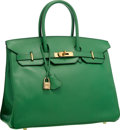 """Luxury Accessories:Bags, Hermes 35cm Vert Bengale Courchevel Leather Birkin Bag with Gold Hardware . Very Good Condition . 14"""" Width x 10"""" Heig..."""