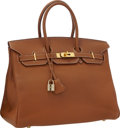 """Luxury Accessories:Bags, Hermes 35cm Gold Togo Leather Birkin Bag with Gold Hardware . Very Good Condition . 14"""" Width x 10"""" Height x 7"""" Depth ..."""