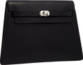 "Luxury Accessories:Bags, Hermes Black Calf Box Leather Kelly Crutch Clutch Bag withPalladium Hardware . Very Good to Excellent Condition .8"" ..."