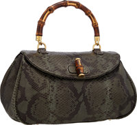 eea433c968e Gucci Green Python Tote Bag with Bamboo Top Handle Excellent Condition 15