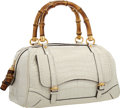 """Luxury Accessories:Bags, Gucci White Crocodile & Bamboo Boston Bag . Very Good to Excellent Condition . 11"""" Width x 7"""" Height x 6.5"""" Depth . ..."""