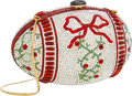 Luxury Accessories:Bags, Judith Leiber Full Bead Silver & Red Multicolor Crystal FloralEgg Minaudiere Evening Bag . Very Good to ExcellentConditi...
