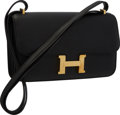 "Luxury Accessories:Bags, Hermes Black Swift Leather Constance Elan Bag with Gold Hardware .Very Good to Excellent Condition . 10"" Width x 6""H..."