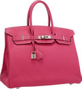 Luxury Accessories:Bags, Hermes Limited Edition Candy Collection 35cm Rose Tyrien &Rouge H Epsom Leather Birkin Bag with Palladium Hardware. Very...