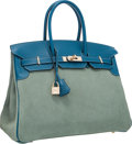 Luxury Accessories:Bags, Hermes Limited Edition 35cm Ciel Veau Doblis Suede & Blue deGalice Evergrain Leather Grizzly Birkin with Permabrass Hardware...
