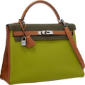 Luxury Accessories:Bags, Hermes 32cm Vert Anis, Vert Olive & Gold Togo Leather Retourne Kelly Bag with Ruthenium Hardware . Very Good to Excellent ...