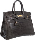 "Luxury Accessories:Bags, Hermes 35cm Shiny Graphite Porosus Crocodile Birkin Bag with GoldHardware. Pristine Condition. 14"" Width x 10""Height..."