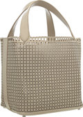 """Luxury Accessories:Bags, Alaia Beige Leather Laser Cut Large Eyelet Tote Bag . ExcellentCondition . 15"""" Width x 10"""" Height x 7"""" Depth . ..."""