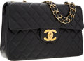 "Luxury Accessories:Bags, Chanel Black Quilted Lambskin Leather Maxi Flap Bag with GoldHardware . Very Good to Excellent Condition . 13"" Width x9...."