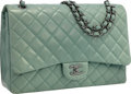 """Luxury Accessories:Bags, Chanel Green Quilted Lambskin Leather Maxi Flap Bag with Silver Hardware. Very Good to Excellent Condition . 13"""" Width..."""
