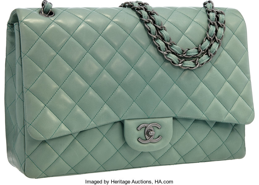 832595df1bd Luxury Accessories:Bags, Chanel Green Quilted Lambskin Leather Maxi Flap  Bag with SilverHardware.