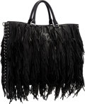 "Luxury Accessories:Bags, Prada Black Leather Fringe Tote Bag with Studded Accents .Excellent Condition . 15"" Width x 12"" Height x 3""Depth ..."