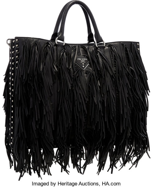 Prada Black Leather Fringe Tote Bag with Studded Accents  1a5735484ed14