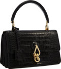 "Luxury Accessories:Bags, Loewe Black Crocodile Top Handle Bag with Gold Hardware . VeryGood to Excellent Condition . 12"" Width x 8"" Height x2..."