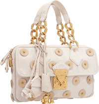 Louis Vuitton Limited Edition Beige Canvas Button Bag with Hammered Gold Hardware Very Good Condition