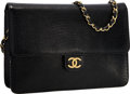 """Luxury Accessories:Bags, Chanel Black Lizard Flap Bag with Gold Hardware . Very Good toExcellent Condition . 9.5"""" Width x 7"""" Height x 2""""Depth..."""