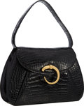 """Luxury Accessories:Bags, Cartier Shiny Black Crocodile Classic Panthere Top Handle Bag with Gold Hardware . Very Good Condition . 10"""" Width x 6..."""