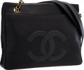 "Luxury Accessories:Bags, Chanel Black Caviar Leather Shoulder Bag with Gold Hardware .Very Good to Excellent Condition . 12"" Width x 10""Heigh..."