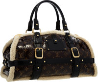 Louis Vuitton Limited Edition Classic Monogram Patent Leather & Shearling Thunder Bag Excellent Condition