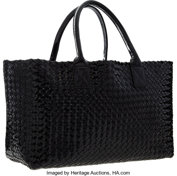 Luxury Accessories Bags, Bottega Veneta Limited Edition Black Intrecciato  Patent LeatherCabas Tote Bag . 1d1708e4fc