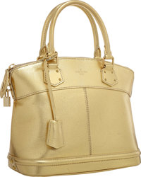 "Louis Vuitton Metallic Gold Suhali Leather Lockit PM Bag Very Good to Excellent Condition 12"" W"