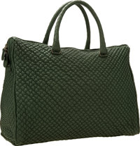 Bottega Veneta Green Quilted Leather Tote Bag with Gunmetal Hardware Very Good to Excellent Condition