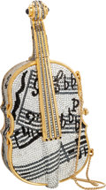"Luxury Accessories:Bags, Judith Leiber Full Bead Silver & Black Crystal Cello MinaudiereEvening Bag . Excellent Condition . 7.5"" Width x 3.5""..."
