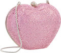 "Luxury Accessories:Bags, Judith Leiber Full Bead Pink Crystal Heart Minaudiere Evening Bag .Excellent Condition . 4.5"" Width x 4"" Height x 2.5..."