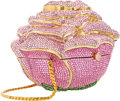"""Luxury Accessories:Bags, Judith Leiber Full Bead Pink Crystal Rose Minaudiere Evening Bag .Excellent Condition . 4.5"""" Width x 4"""" Height x 3.5"""" Dep..."""