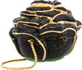 "Luxury Accessories:Bags, Judith Leiber Full Bead Black Crystal Rose Minaudiere Evening Bag .Very Good to Excellent Condition . 4.5"" Width x 4""..."