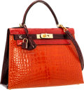 Luxury Accessories:Bags, Hermes Special Order 28cm Shiny Braise, Orange H & BordeauxAlligator Sellier Kelly Bag with Gold Hardware. Excellent toP...
