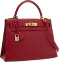 "Luxury Accessories:Bags, Hermes 28cm Rouge Vif Courchevel Leather Sellier Kelly Bag with Gold Hardware . Excellent to Pristine Condition . 10"" ..."