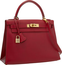 Hermes 28cm Rouge Vif Courchevel Leather Sellier Kelly Bag with Gold Hardware Excellent to Pristine Condition