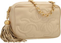 """Luxury Accessories:Bags, Chanel Beige Lambskin Leather Camera Bag with Gold Hardware.Excellent Condition . 7"""" Width x 5"""" Height x 3"""" Depth..."""