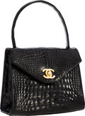 "Luxury Accessories:Bags, Chanel Black Crocodile Top Handle Evening Bag with Gold Hardware.Excellent Condition . 6"" Width x 5.5"" Height x 3""De..."