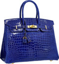 Luxury Accessories:Bags, Hermes Special Order Horseshoe 35cm Shiny Blue Electric &Alezan Porosus Crocodile Birkin Bag with Gold Hardware .Excelle...