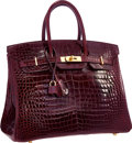 Luxury Accessories:Bags, Hermes Special Order Horseshoe 35cm Shiny Bordeaux & RougeMoyen Porosus Crocodile Birkin Bag with Gold Hardware . VeryGo...