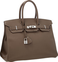 Hermes 35cm Etoupe Epsom Leather Birkin Bag with Palladium Hardware Very Good to Excellent Condition